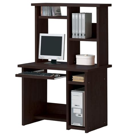 espresso computer desk optional hutch sliding keyboard