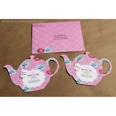 Tea Party Teapot Victorian Pink Floral Printable Teapot Invitation Template Printable