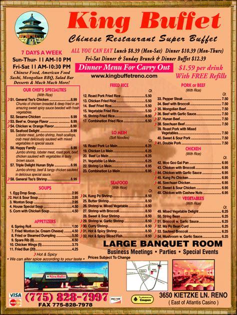 china king buffet menu king buffet reno nv 89502 yellowbook