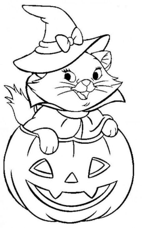 cute pumpkin coloring pages cute cat coming out of jack o lantern in halloween