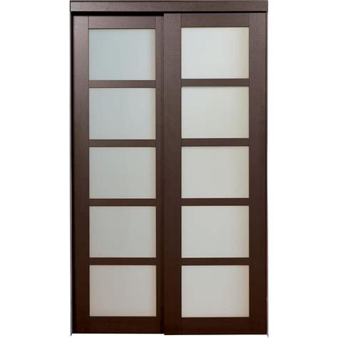 Interior Closet Doors Shop Reliabilt 5 Lite Frosted Glass Sliding Closet Interior Door Common 60 In X 80 In Actual