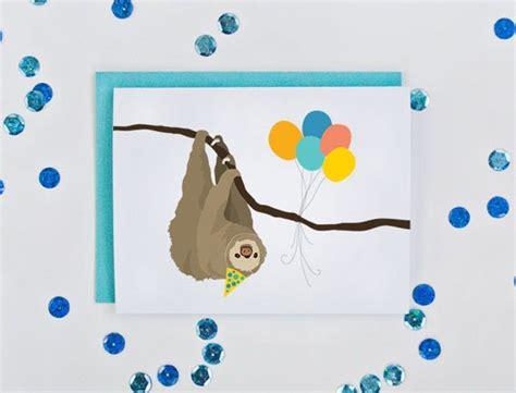 Sloth Birthday Cards Birthday Card Illustrated Sloth Birthday Cards Sloths