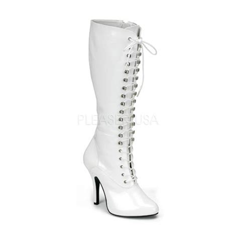 white patent lace up knee high boots boots catalog