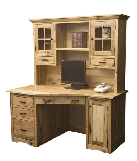 Wood Office Desks For Home Amish Mission Computer Desk Hutch Solid Wood Home Office Rustic Furniture Cpu Ebay