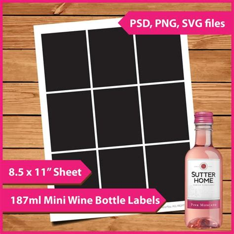 Layer Template Mini Wine Bottle Label 187ml Instant Mini Labels Template