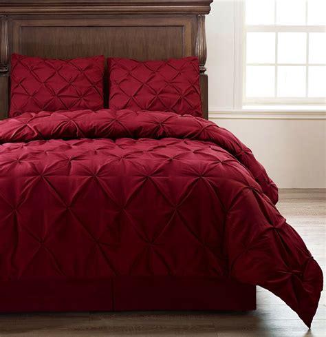 Cali King Bedding by Pinch Pleat Burgundy 4 Comforter Set