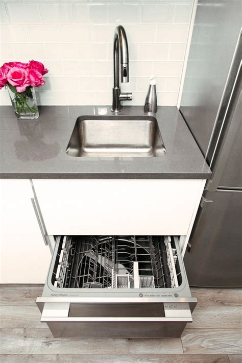 single drawer dishwasher under sink jennifer s small space kitchen renovation the big reveal