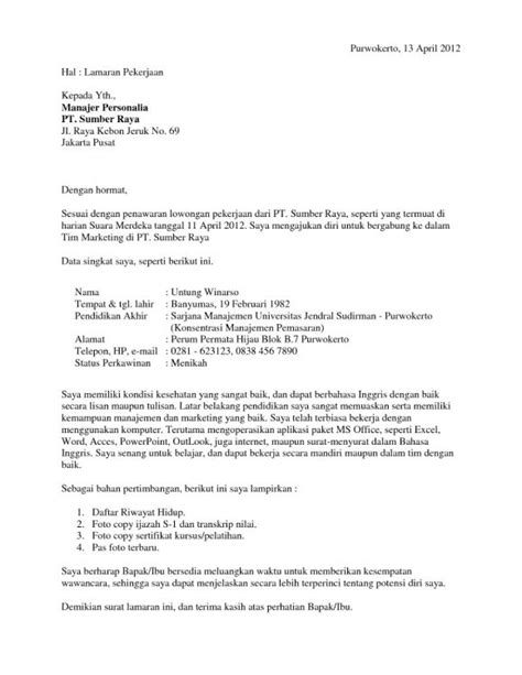 Cara Tulis Surat Sakit by 27 Contoh Surat Lamaran Kerja Yang Baik Dan Benar Umum