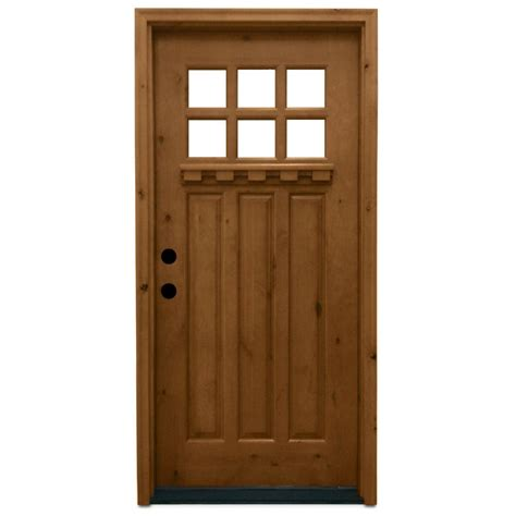 Wooden Exterior Doors With Glass Steves Sons 36 In X 80 In Craftsman 6 Lite Stained Knotty Alder Wood Prehung Front Door