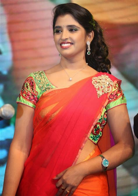 vijay tv anchor hot tv anchor syamala photos in saree at rough movie audio