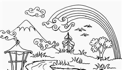 Coloring Mewarnai Pemandangan mewarnai pemandangan bawah laut belajar sketch coloring page