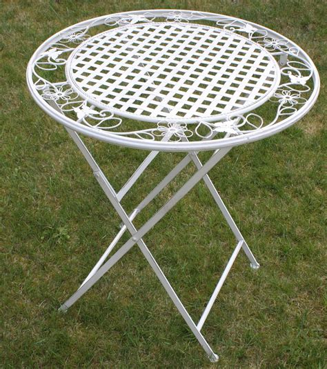 White Metal Patio Table White Floral Outdoor Folding Metal Garden Dining Table Patio Furniture Set Ebay