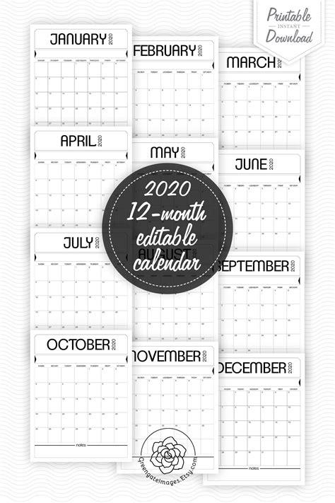 printable calendar fillable planner editable   type  text digital