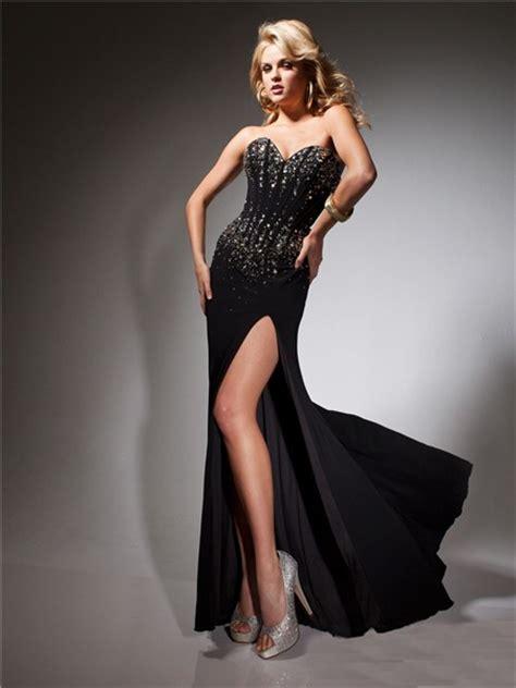 formal sweetheart long black chiffon beaded corset evening
