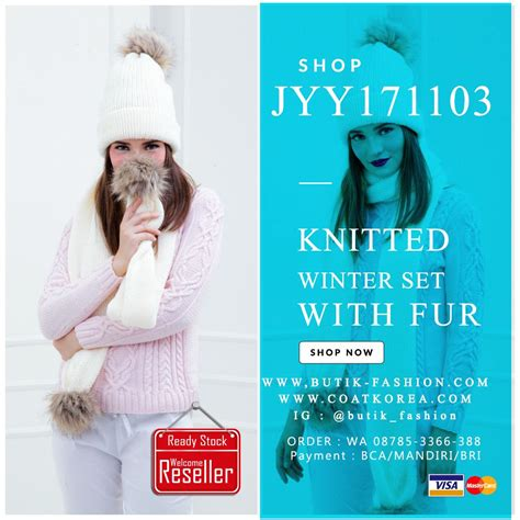 Topi Rajut Korea 25 set topi rajut scarf 5 color pompom fur knitted hat jyy171103 coat korea