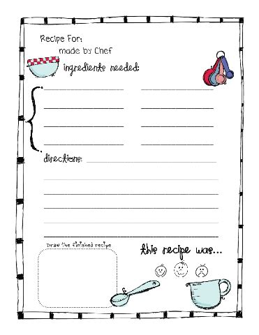 recipe card writing template for teaching quot reading to follow directions purpose