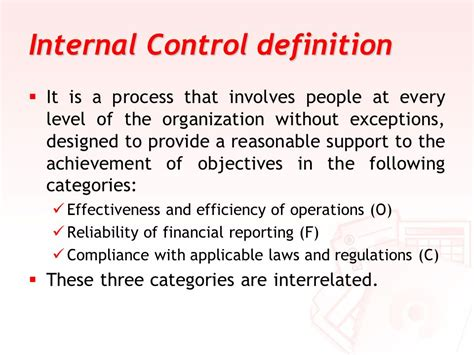 controlling definition internal control based on the coso report ppt download