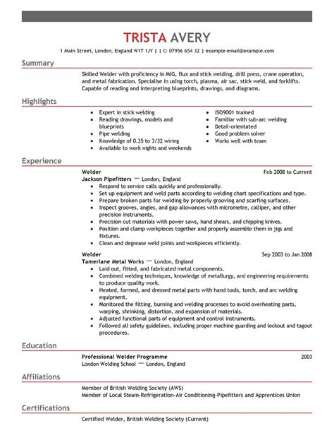 Welding Resume by Best Welder Resume Exle Livecareer