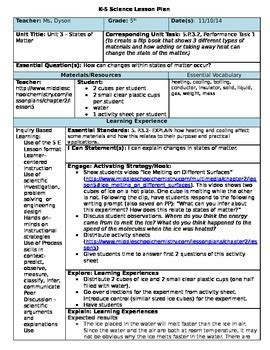 5 e lesson plan template for math 5e science lesson plan states of matter by the peaceful