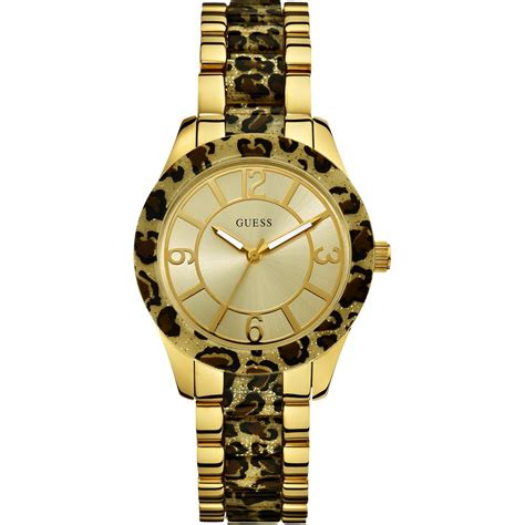 Guess Ceramica Bulat Gold Berkualitas guess w0014l2 goddess gold tone leopard print bracelet