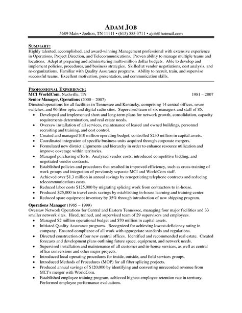 Resume Sle For Director by Director Of Operations Resume Sle Director Of Operations