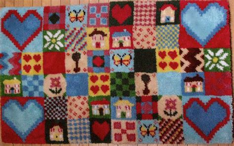 rug kit patchwork hearts homes latch hook rug kit
