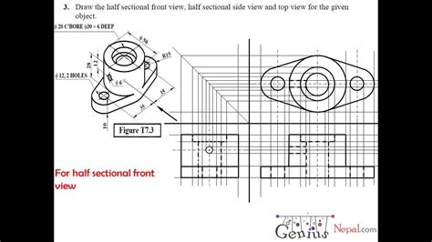 technical drawing section view engineering drawing tutorials sectional and auxiliairy