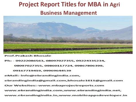Mba In Management by Project Report Titles For Mba In Agri Business Management