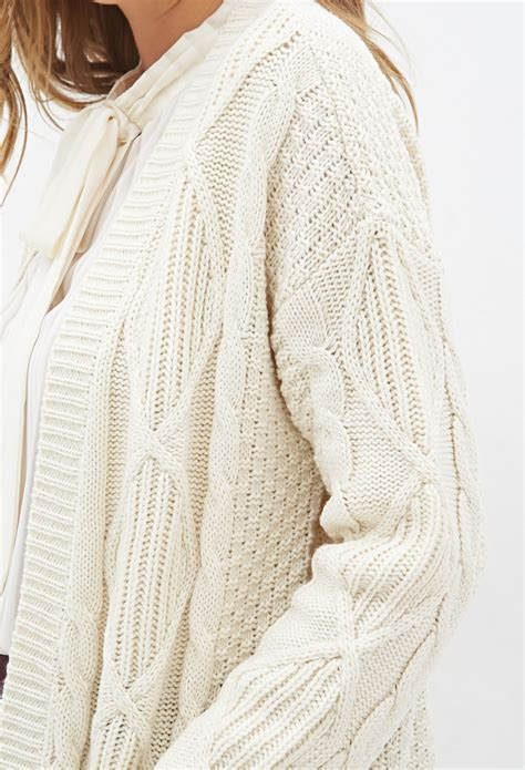 knitting pattern long line cardigan lyst forever 21 longline cable knit cardigan in natural