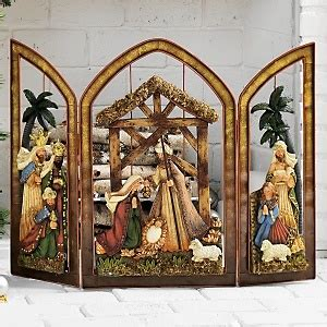 nativity fireplace screen at hsn