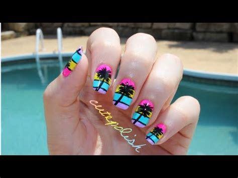 easy nail art cutepolish california palm tree nail art youtube