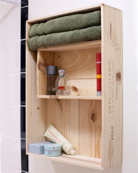Diy Bathroom Furniture Diy Bathroom Storage Cabinet Made Of Two Wine Crates Shelterness