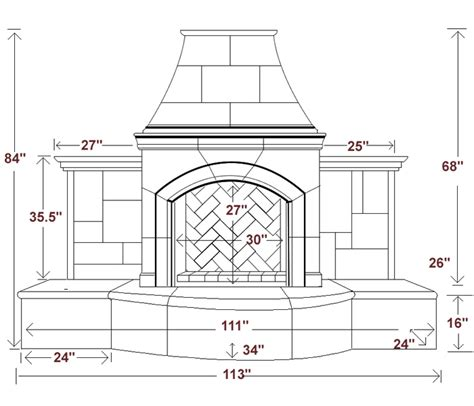 Dimensions Of Fireplace by Outdoor Fireplace Dimensions