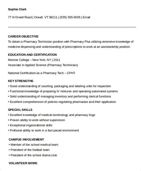 pharmacy technician resumes resume sample writing guide 0 example 9