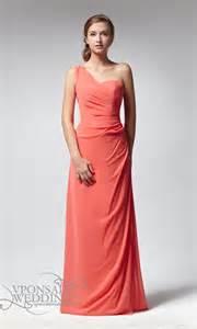 elegant long one shoulder ruched peach bridesmaid dress