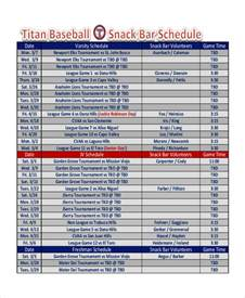 baseball schedule template free snack schedule template 7 free word excel pdf