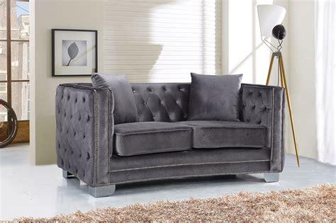 velvet button tufted sofa gianni modern grey button tufted velvet sofa loveseat w
