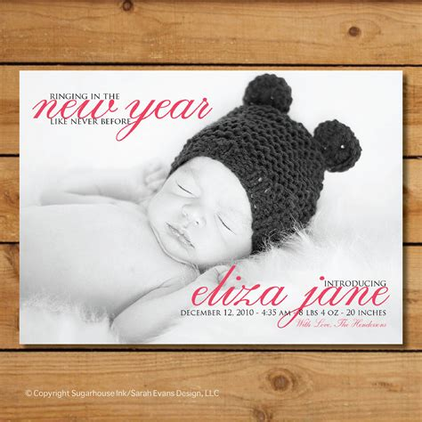 new year birth years new years birth announcement ringing in the new year