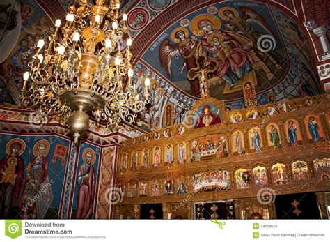 beautiful paintings   orthodox church stock image