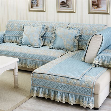 Sofa Covers Sectional Luxury Polyester Cotton Fabric Sectional Sofa Cover Blue Lace Embroidered Slipcover Quilted