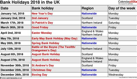 Calendar 2018 Showing Bank Holidays March 2018 Calendar With Holidays Uk Calendar Printable Free