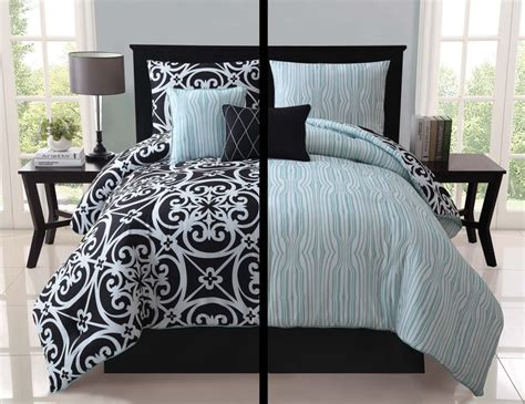 5pc luxury kennedy black white teal reversible