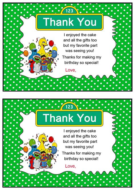 sesame thank you card template sesame thank you cards birthday printable