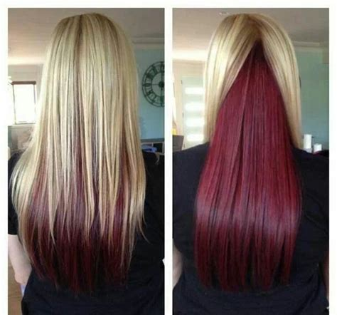 lowlighting the hair under the top layer red under layer hair would look awesome with brown hair