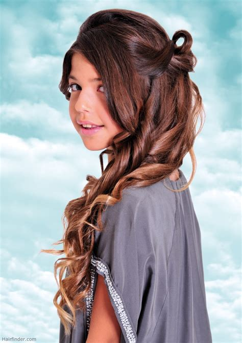 preteen model hair long curled and looped teen girls hairstyle for
