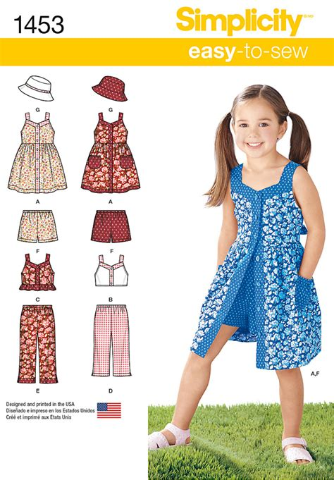 pattern dress child simplicity 1453 child s dress top pants or shorts and