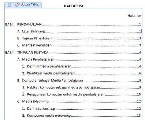 membuat daftar isi membuat daftar isi otomatis di word ishaq madeamin blog