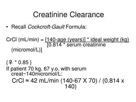 creatinine clearance test serum creatinine clearance