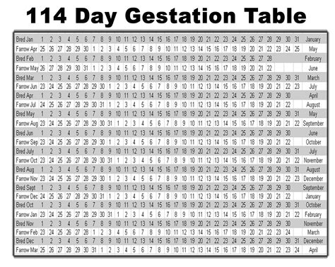 Beef Gestation Table by Swine Pig Gestation Table Source Www Triplesires