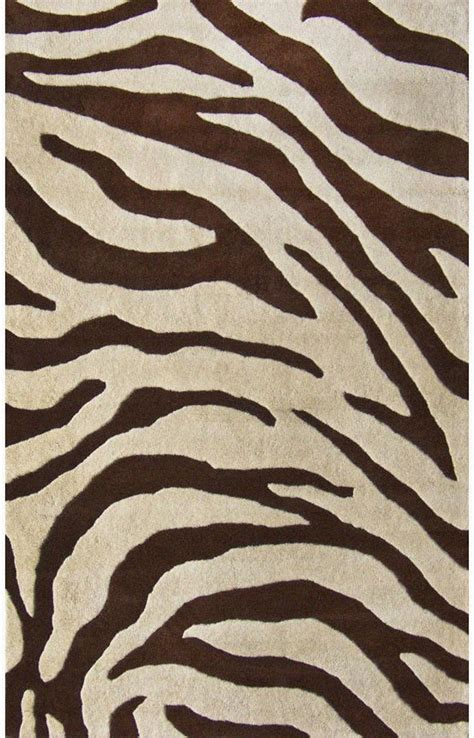 Sneh Rugs Animal Ani09 Zebra Brown Modern Rug Modern Rug